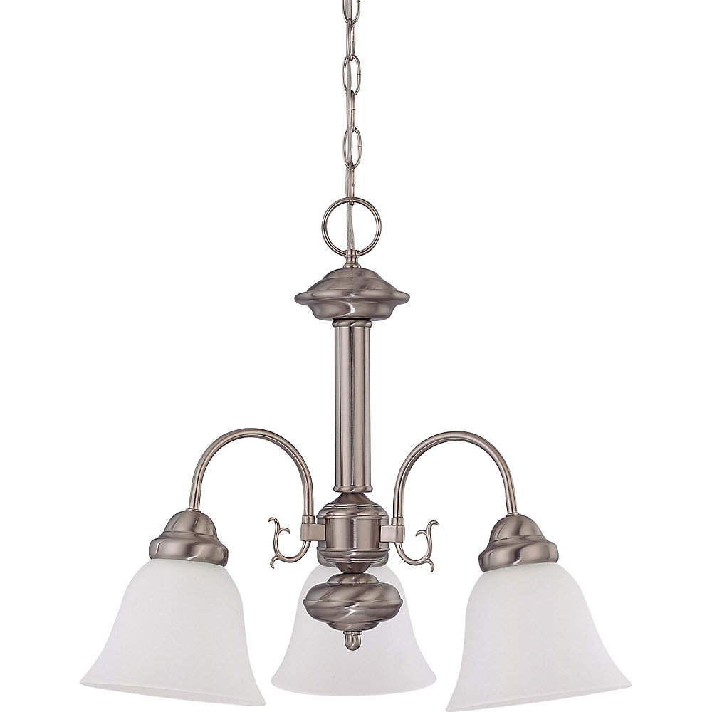 Ballerina Brushed Nickel 3-Light 20 Inch Chandelier with Frosted White Glass 13 watt Bulbs Included