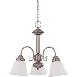 Glomar Ballerina Brushed Nickel 3-Light 20 Inch Chandelier with Frosted White Glass 13 watt Bulbs Included
