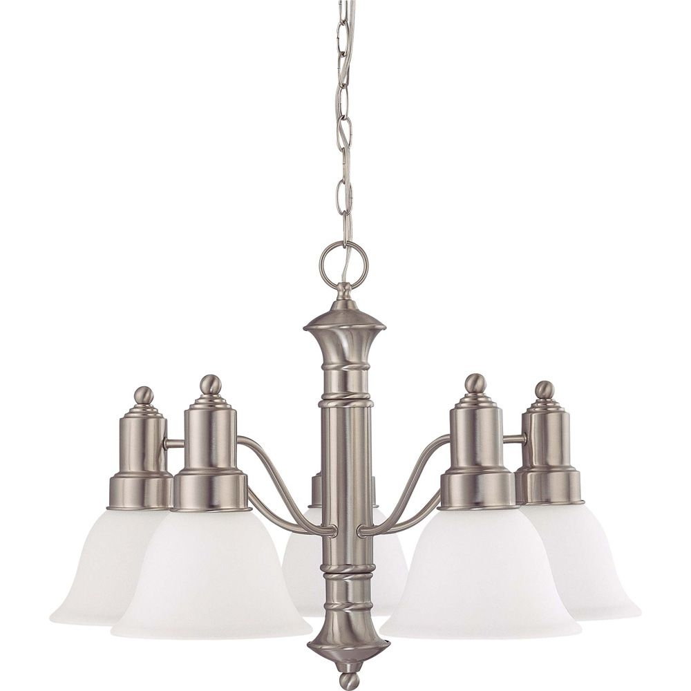 Gotham Brushed Nickel 5-Light 25 Inch Chandelier with Frosted White Glass 13 watt Bulbs Included