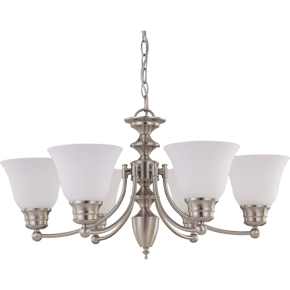Empire Brushed Nickel 6 Light 26 Inch  Chandelier with Frosted White Glass  (6) 13W  Bulbs Includ...