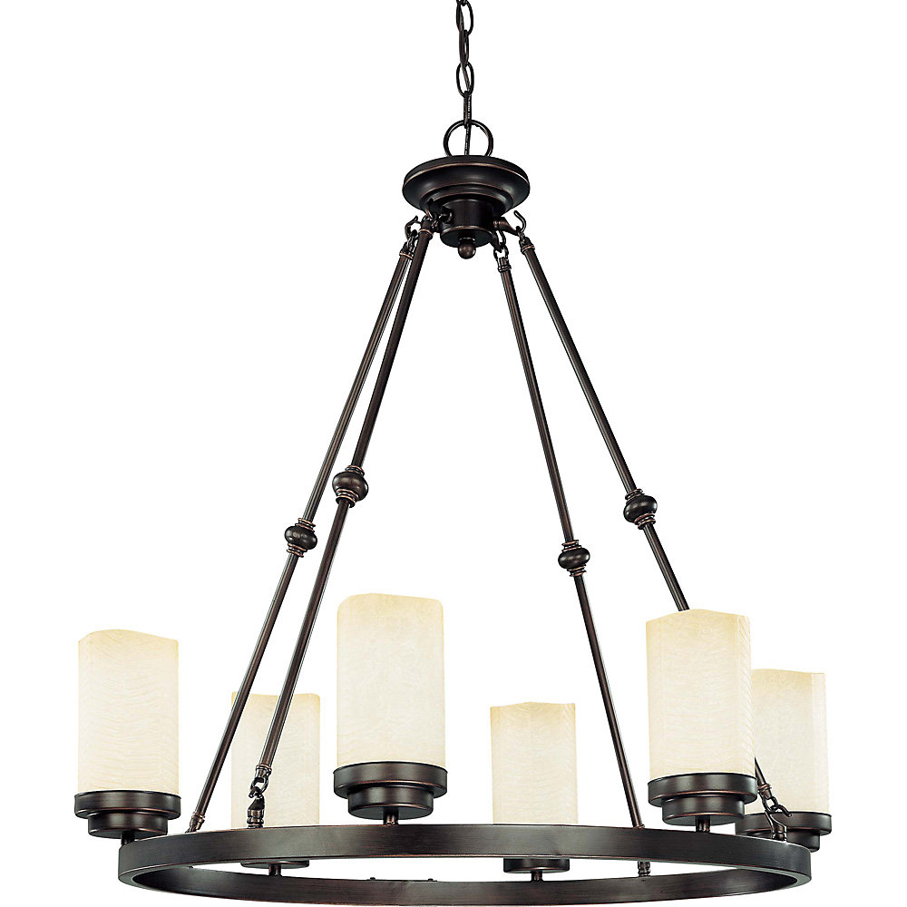 Lucern Patina Bronze 6-Light 26 Inch Oval with Saddle Stone Glass (6) 13 watt Bulbs Included