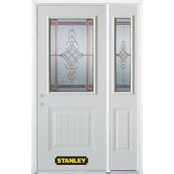 Stanley Doors 50.25 inch x 82.375 inch Milano Brass 1/2 Lite 1-Panel Prefinished White Right-Hand Inswing Steel Prehung Front Door with Sidelite and Brickmould