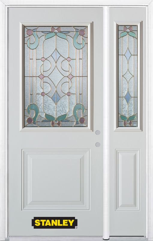 48-inch x 82-inch Aristocrat 1/2-Lite 1-Panel White Steel Entry Door with Sidelite and Brickmould