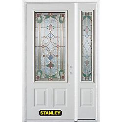 Stanley Doors Porte dentrée en acier préfini en blanc, munie de deux panneaux et dun 3/4 verre, 53 po x 82 po avec panneaux latéraux et moulure de brique - ENERGY STAR®