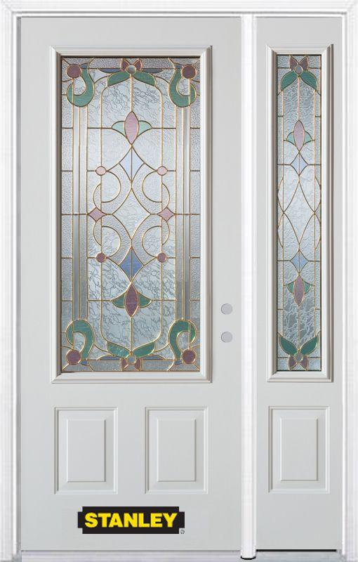 Stanley Doors 52.75 inch x 82.375 inch Aristocrat Brass 3/4 Lite 2-Panel Prefinished White Left-Hand Inswing Steel Prehung Front Door with Sidelite and Brickmould - ENERGY STAR®