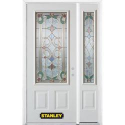 Stanley Doors 48.25 inch x 82.375 inch Aristocrat Brass 3/4 Lite 2-Panel Prefinished White Left-Hand Inswing Steel Prehung Front Door with Sidelite and Brickmould