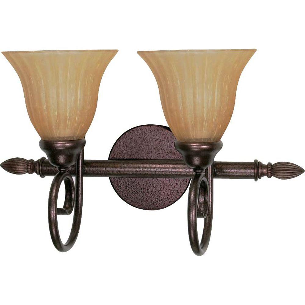 Lumière Glomar fixée au mur à deux ampoules avec abat-jour de spécialité, Fini bronze