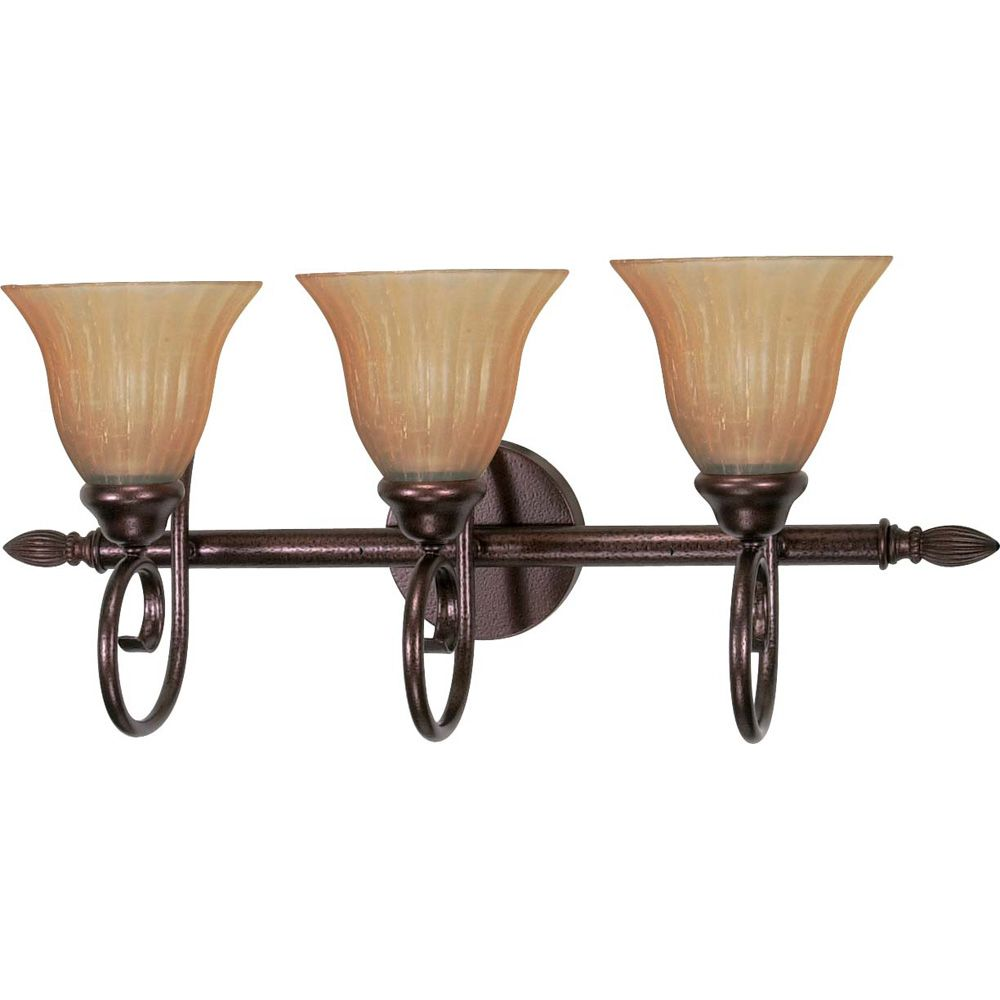 Moulan 3-Light 25 InchVanity with Champagne Linen Washed Glass Finished in Copper Bronze