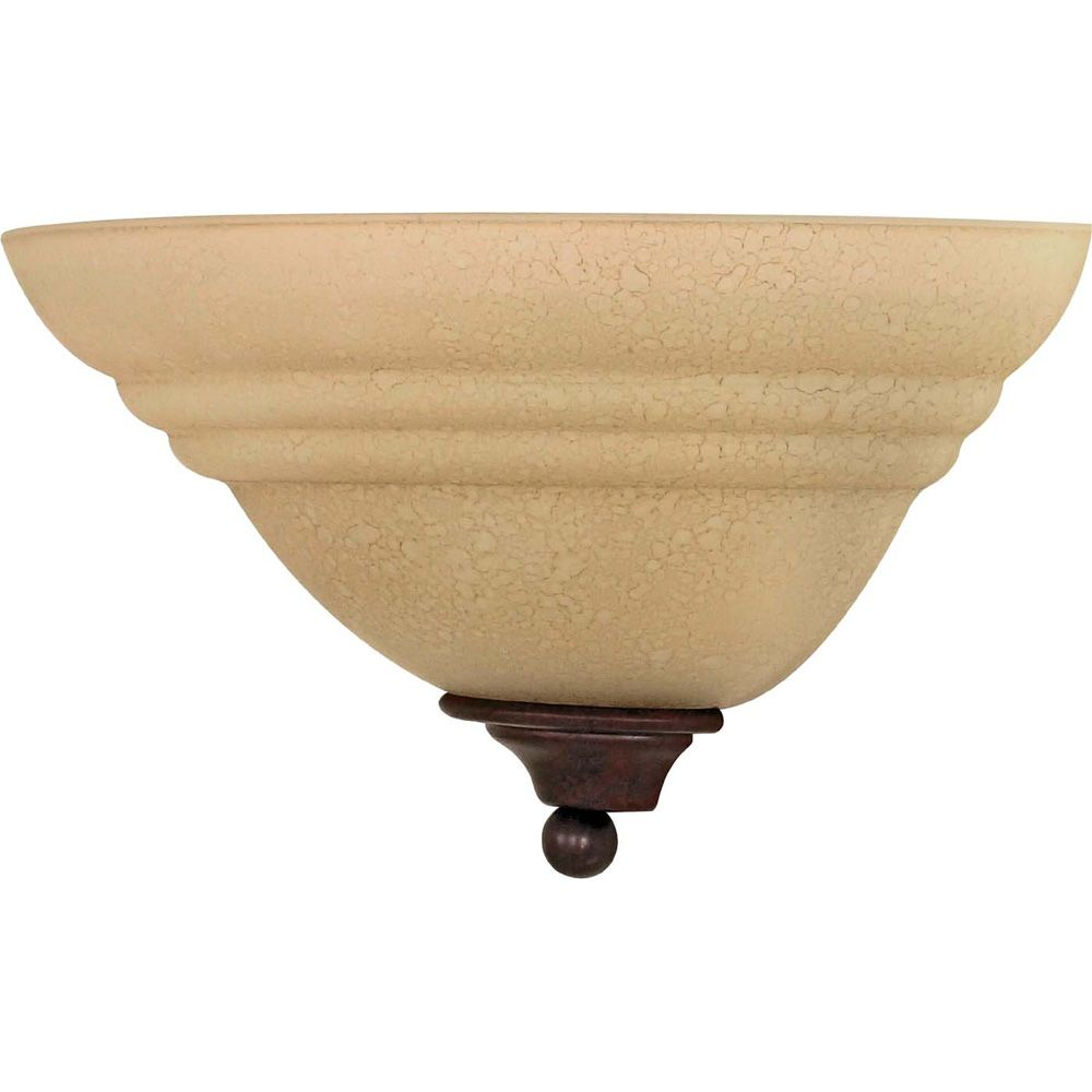 Glomar Mericana 1-Light 13 Inch Wall Fixture with Amber Water Glass Finished in Old Bronze