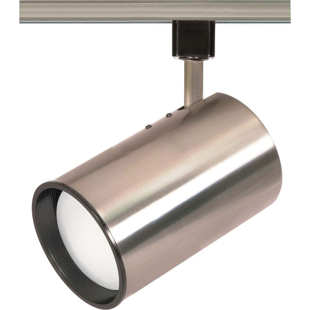 1-Light R30 Track Head Straight Cylinder Finished in Brushed Nickel