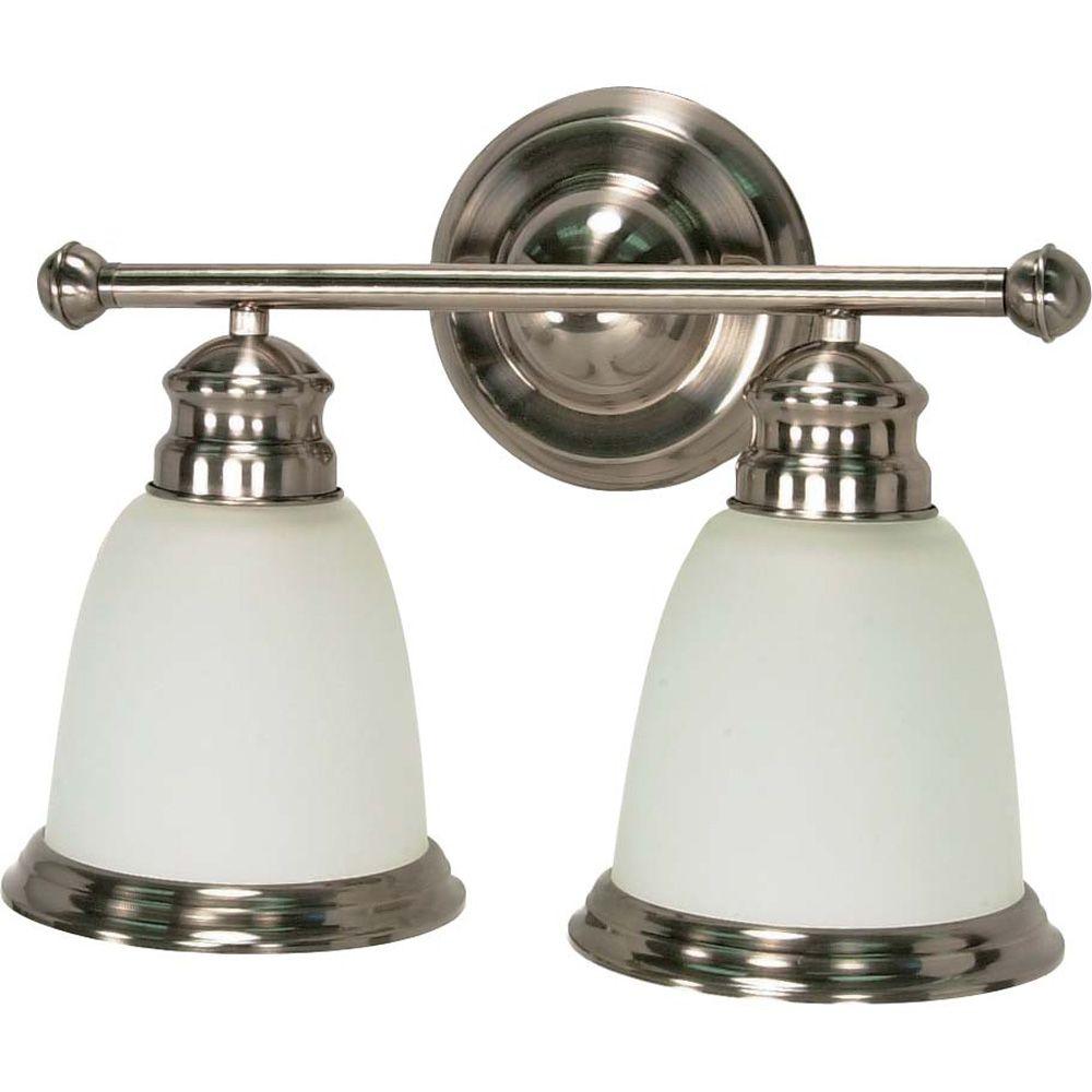 Lumière Glomar fixée au mur à deux ampoules avec abat-jour givré, finition de spécialité