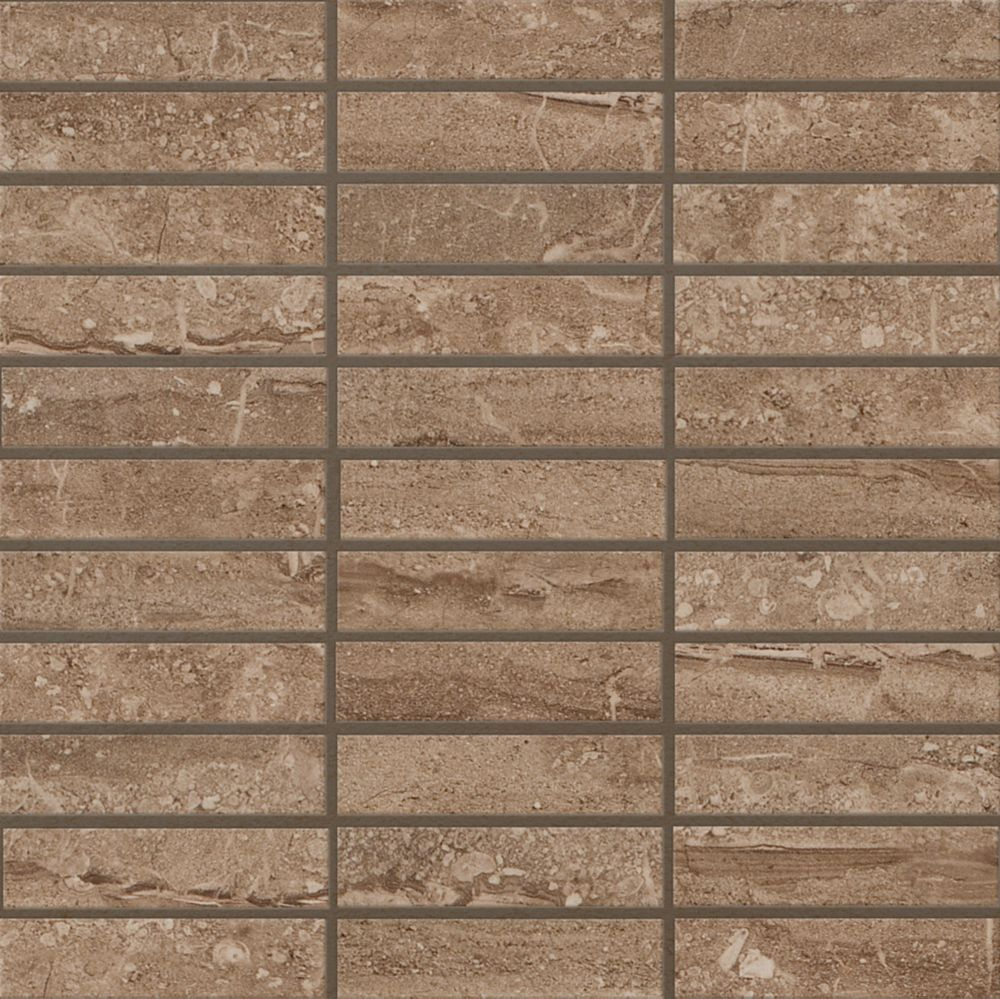 Sand Dunes 1 inch x 4 inch Glazed Polished Porcelain Mesh-mounted Mosaic Floor & Wall Tile
