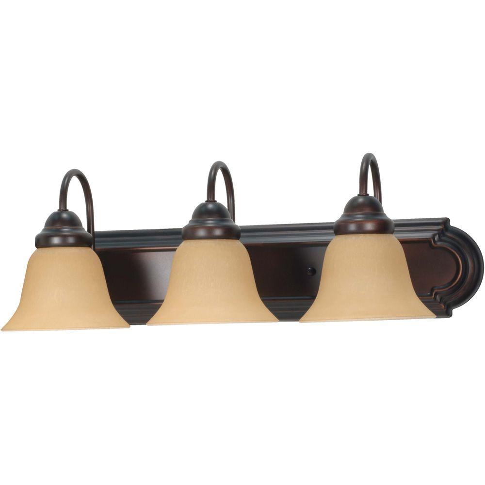 Lumière fixée au mur à trois ampoules avec abat-jour de spécialité, Fini bronze
