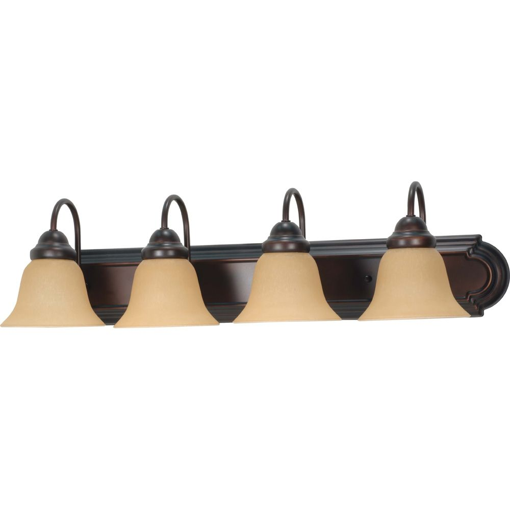 Ballerina  4-Light  30 Inch Vanity with Champagne Linen Washed Glass Finished in Mahogany Bronze