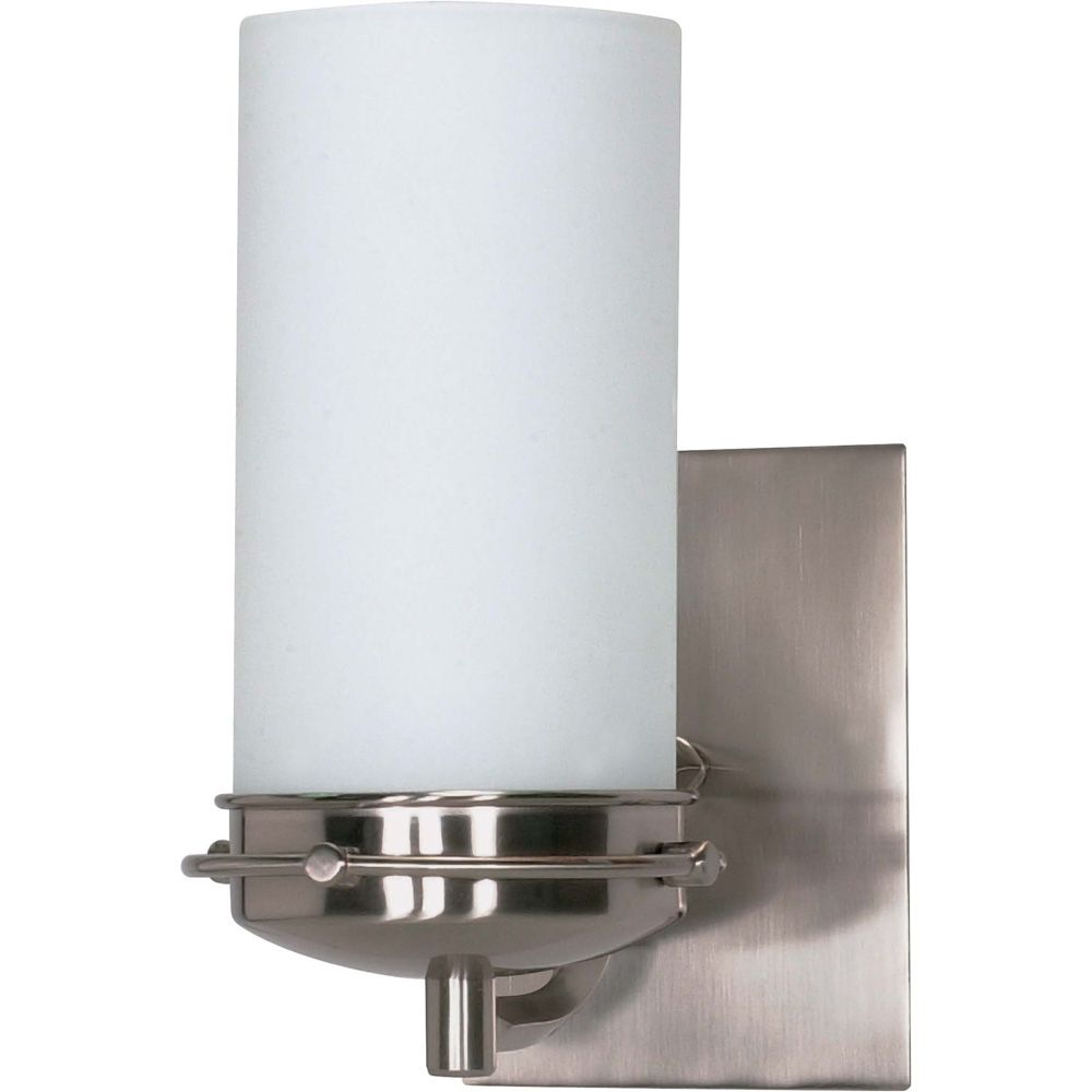 Polaris 1 Light 5 Inch Vanity with Satin Frosted Glass Shade Finished in Brushed Nickel