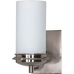 Glomar Polaris 1 Light 5 Inch Vanity with Satin Frosted Glass Shade Finished in Brushed Nickel