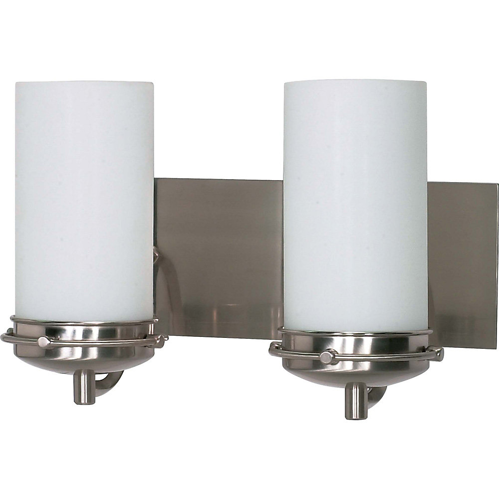 Polaris 2 Light 14 Inch Vanity with Satin Frosted Glass Shades Finished in Brushed Nickel