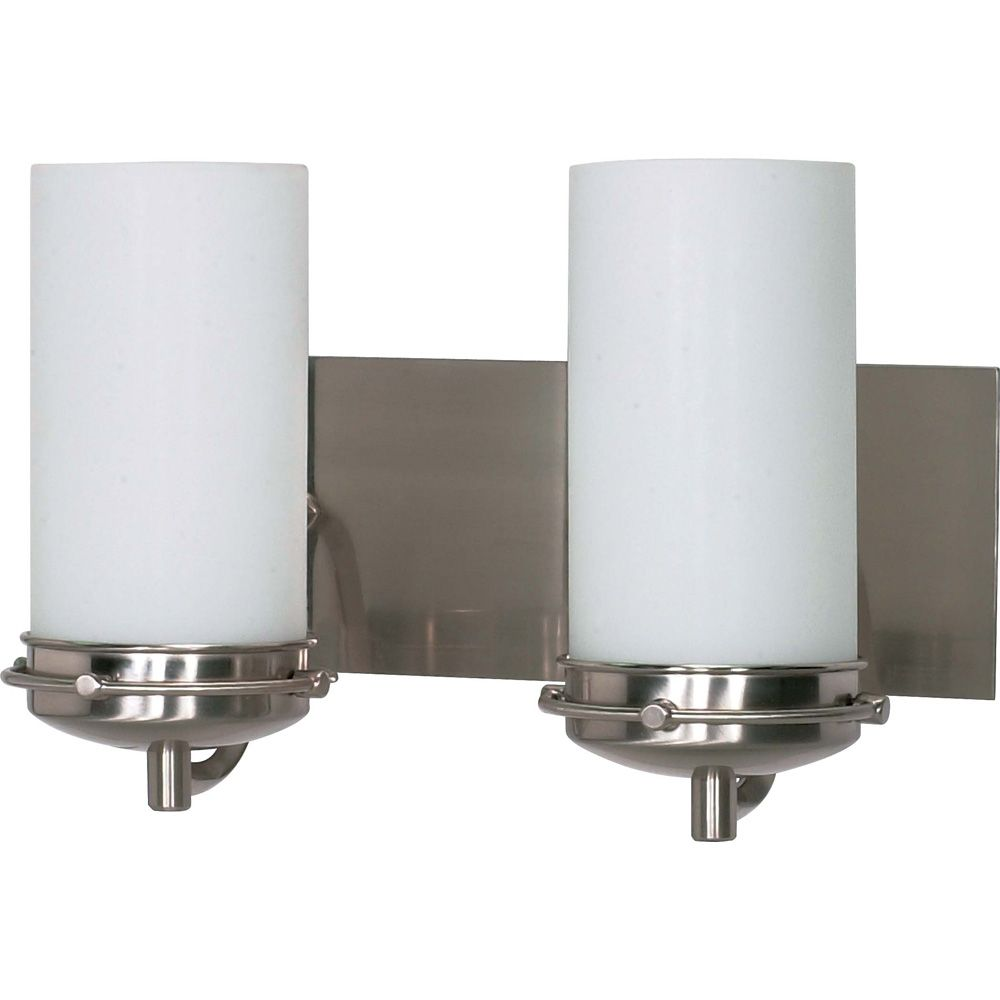 Glomar Polaris 2 Light 14 Inch Vanity with Satin Frosted Glass Shades Finished in Brushed Nickel