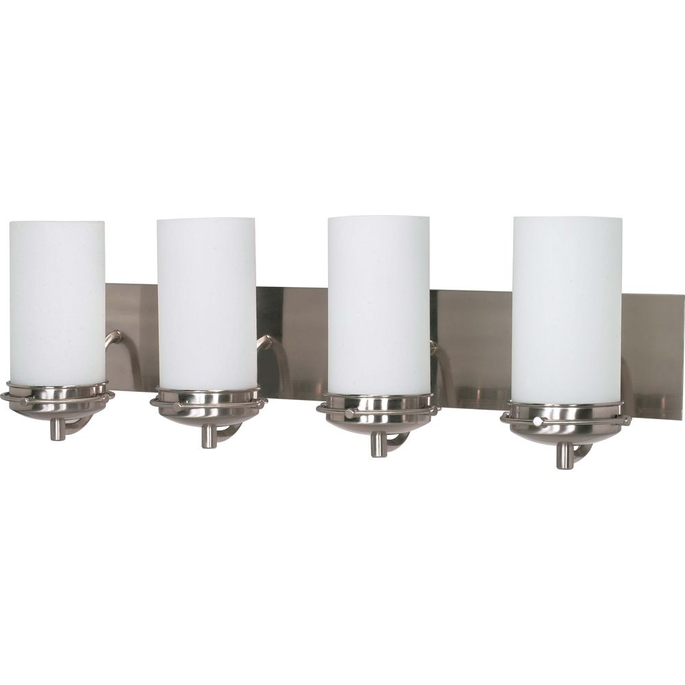 Polaris 4 Light 30 Inch Vanity with Satin Frosted Glass Shades Finished in Brushed Nickel