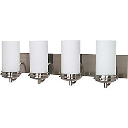 Glomar Polaris 4 Light 30 Inch Vanity with Satin Frosted Glass Shades Finished in Brushed Nickel