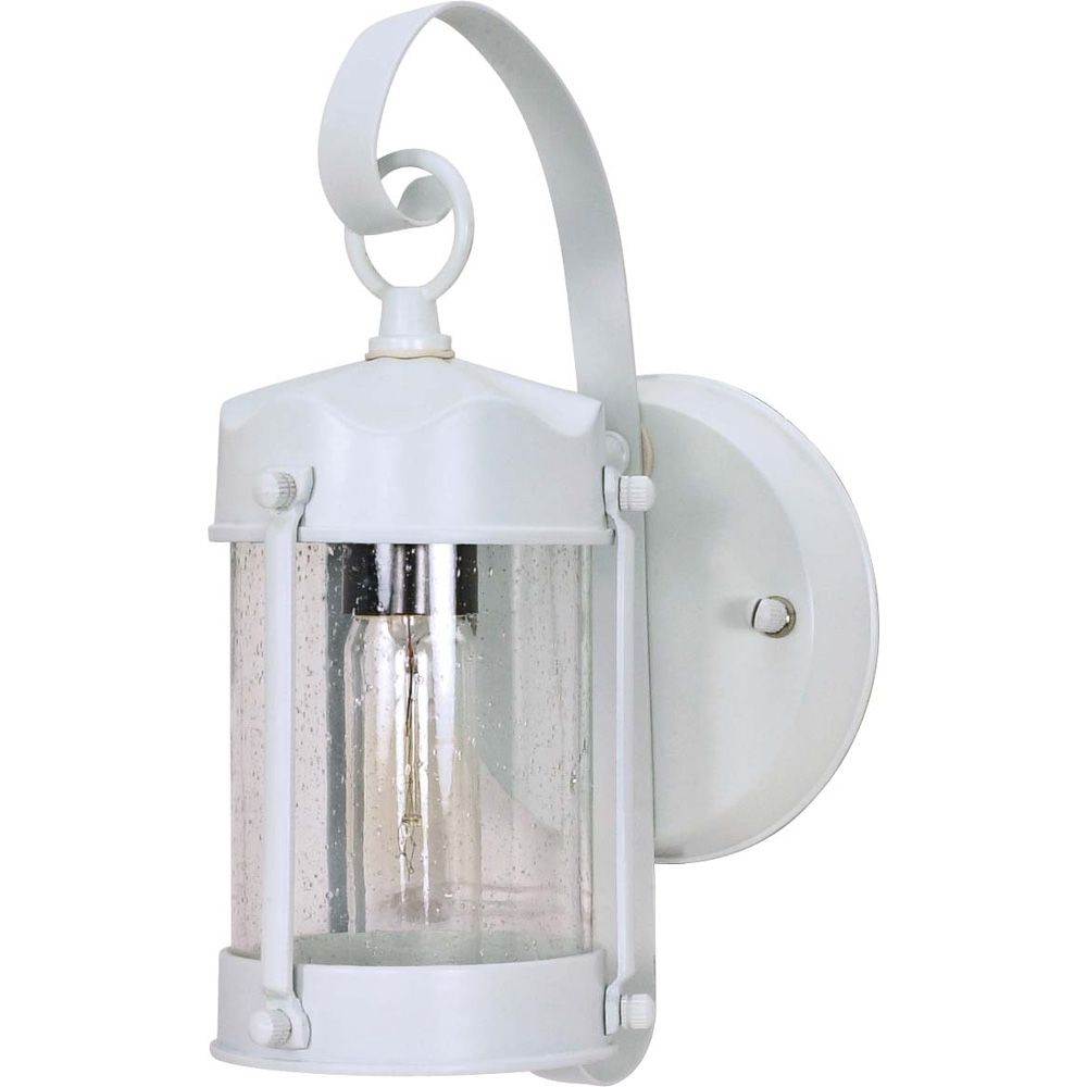 Glomar 1-Light 11 Inc  Wall Lantern Piper Lantern with Clear Seed Glass finished in White