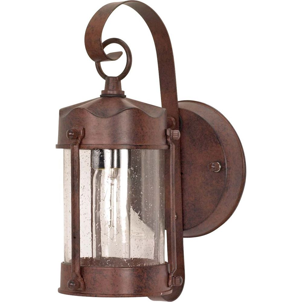 1-Light 11 Inch Wall Lantern Piper Lantern with Clear Seed Glass finished in Old Bronze
