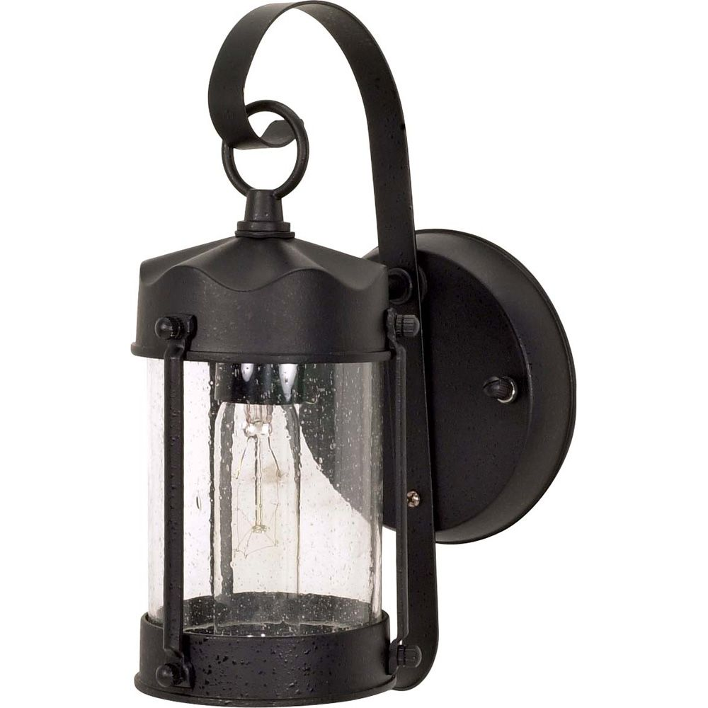 1-Light 11 Inch Wall Lantern Piper Lantern with Clear Seed Glass finished in Textured Black HD-635 in Canada