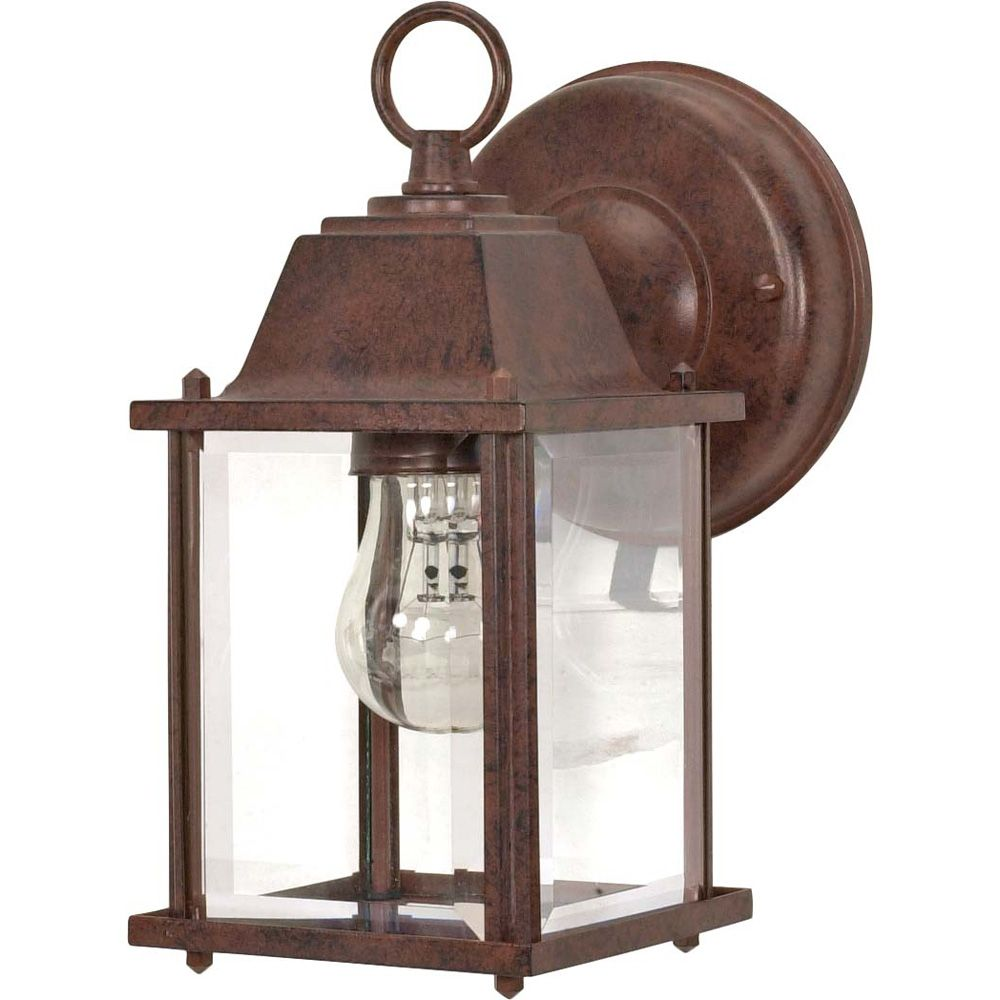 Glomar 1-Light  9 in Wall Lantern Cube Lantern with Clear Beveled Glass finished in Old Bronze