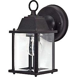 Glomar Lumière fixée au mur à une ampoule avec abat-jour clair, Fini noir