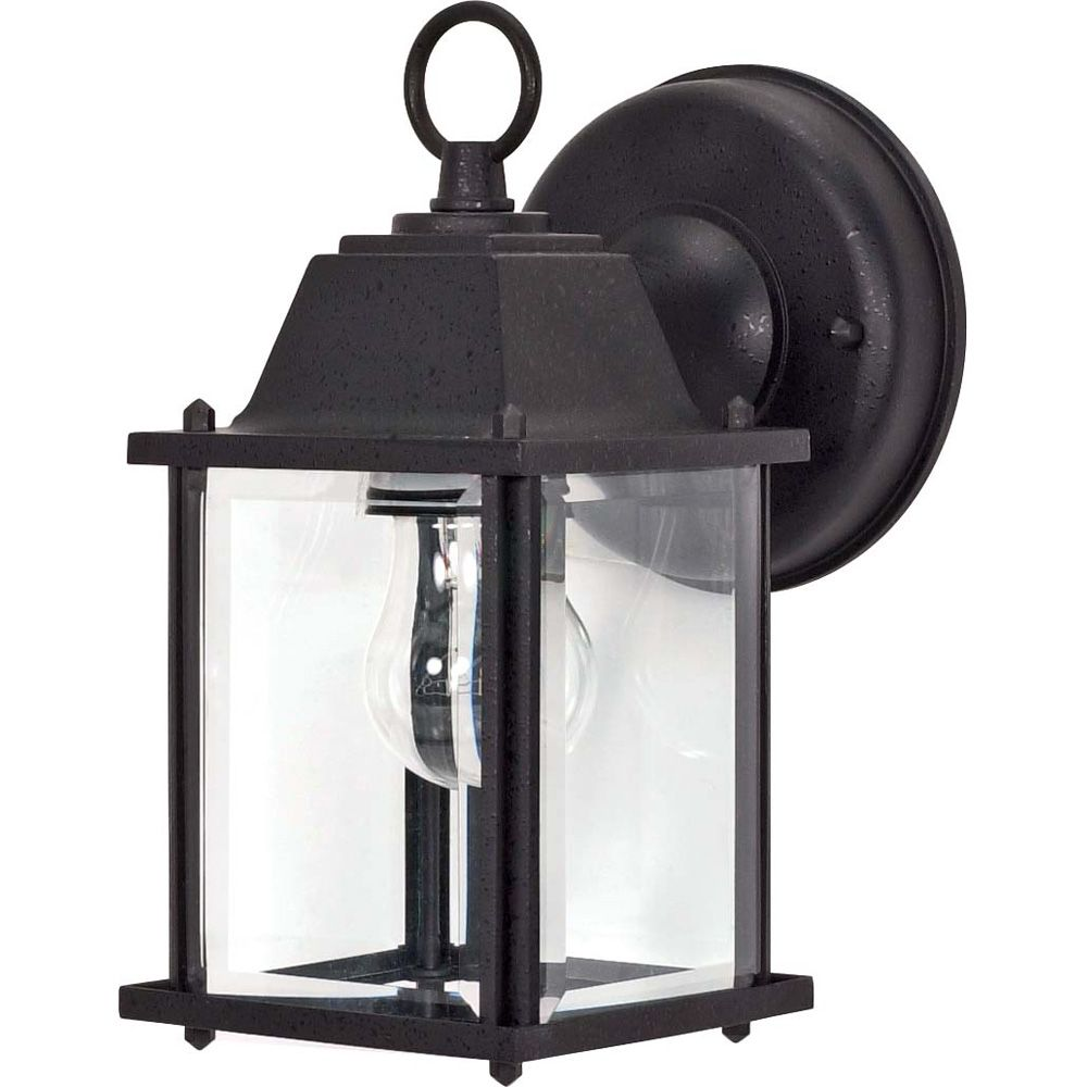 1-Light 9 Inch Wall Lantern Cube Lantern with Clear Beveled Glass finished in Textured Black