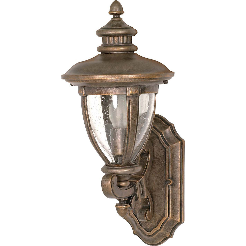 Galeon 1-Light 19 Inch Wall Lantern Arm Up with Clear Seed Glass finished in Platinum Gold