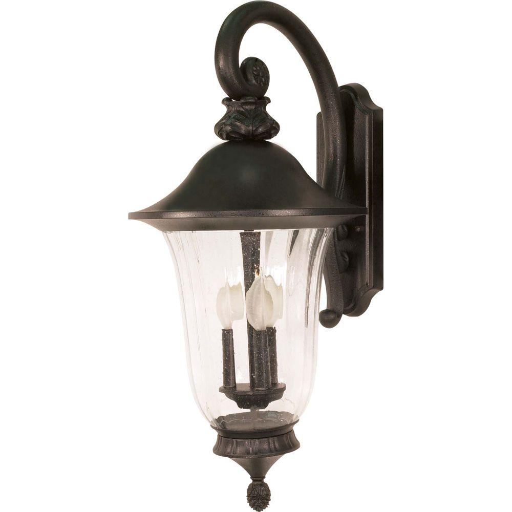 Lumière fixée au mur à trois ampoules avec abat-jour de spécialité, Fini noir