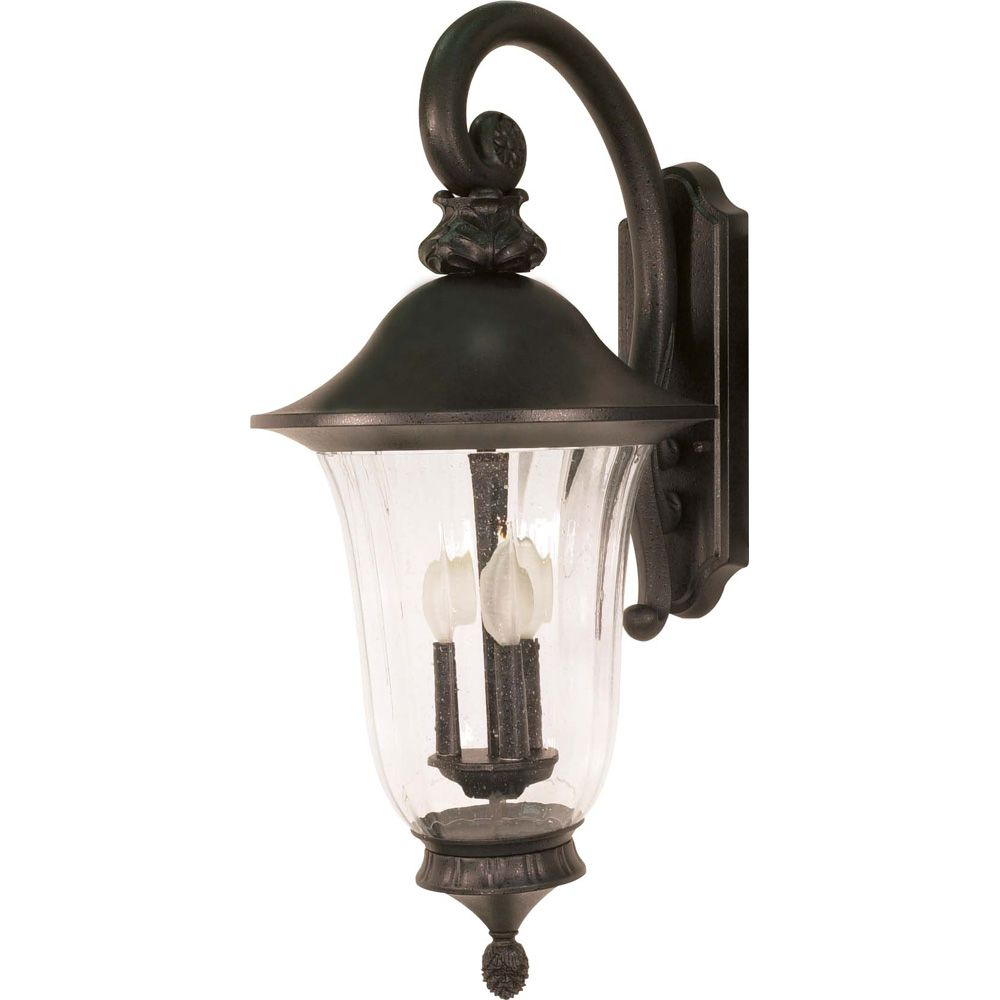 Parisian 3-Light 27 Inch Wall Lantern - Arm Down with Fluted Seed Glass finished in Textured Blac...