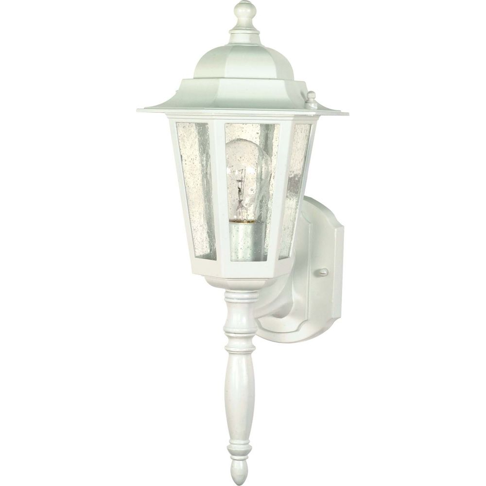 Cornerstone 1-Light 18 Inch Wall Lantern - with Clear Seed Glass finished in White