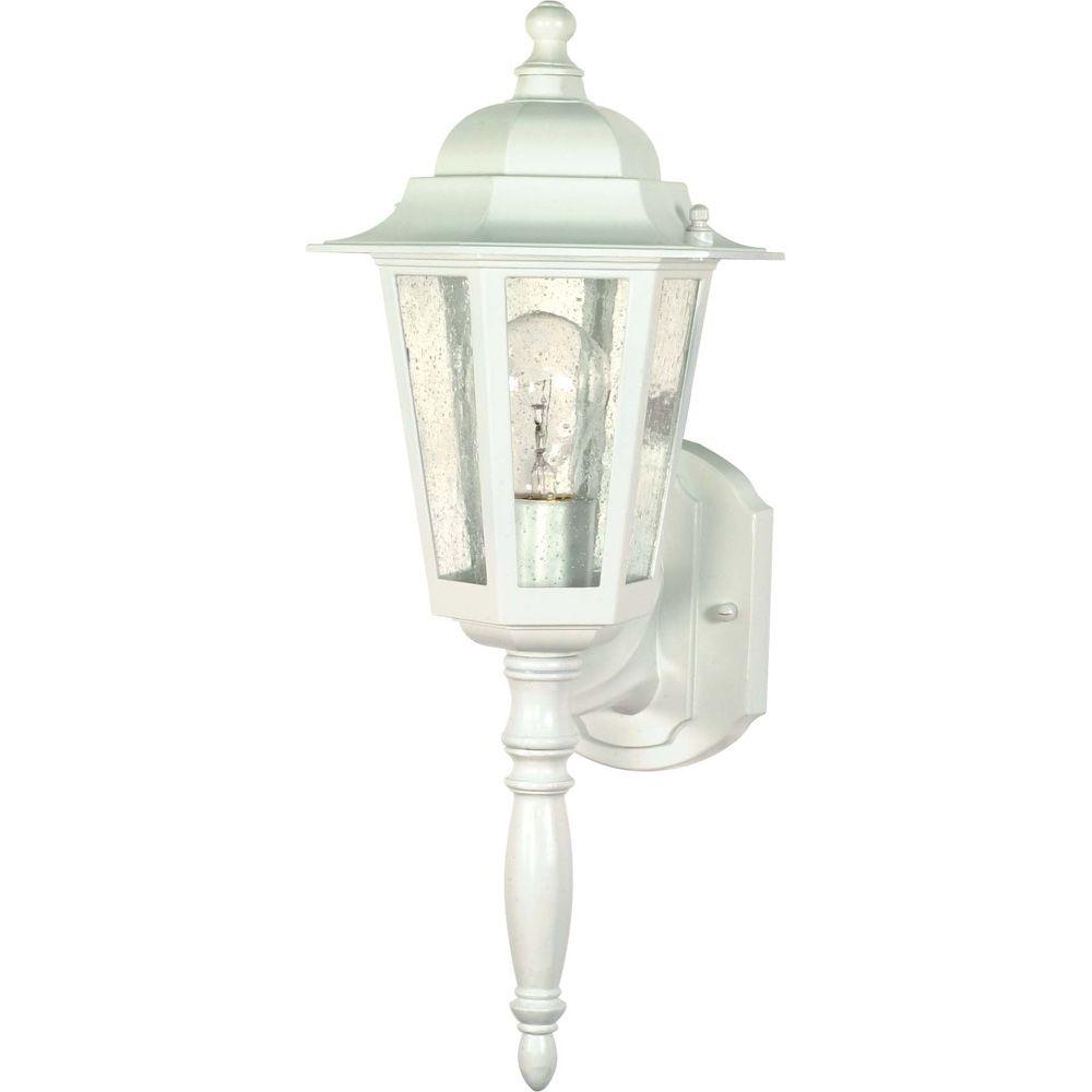 Lumière Glomar fixée au mur à une ampoule avec abat-jour clair, Fini blanc