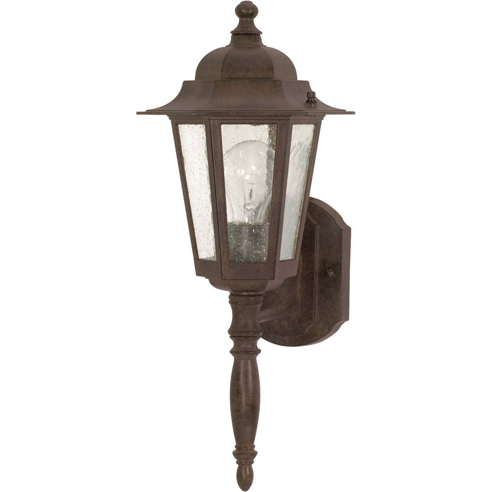 Glomar Cornerstone 1-Light 18 Inch Wall Lantern - with Clear Seed Glass finished in Old Bronze