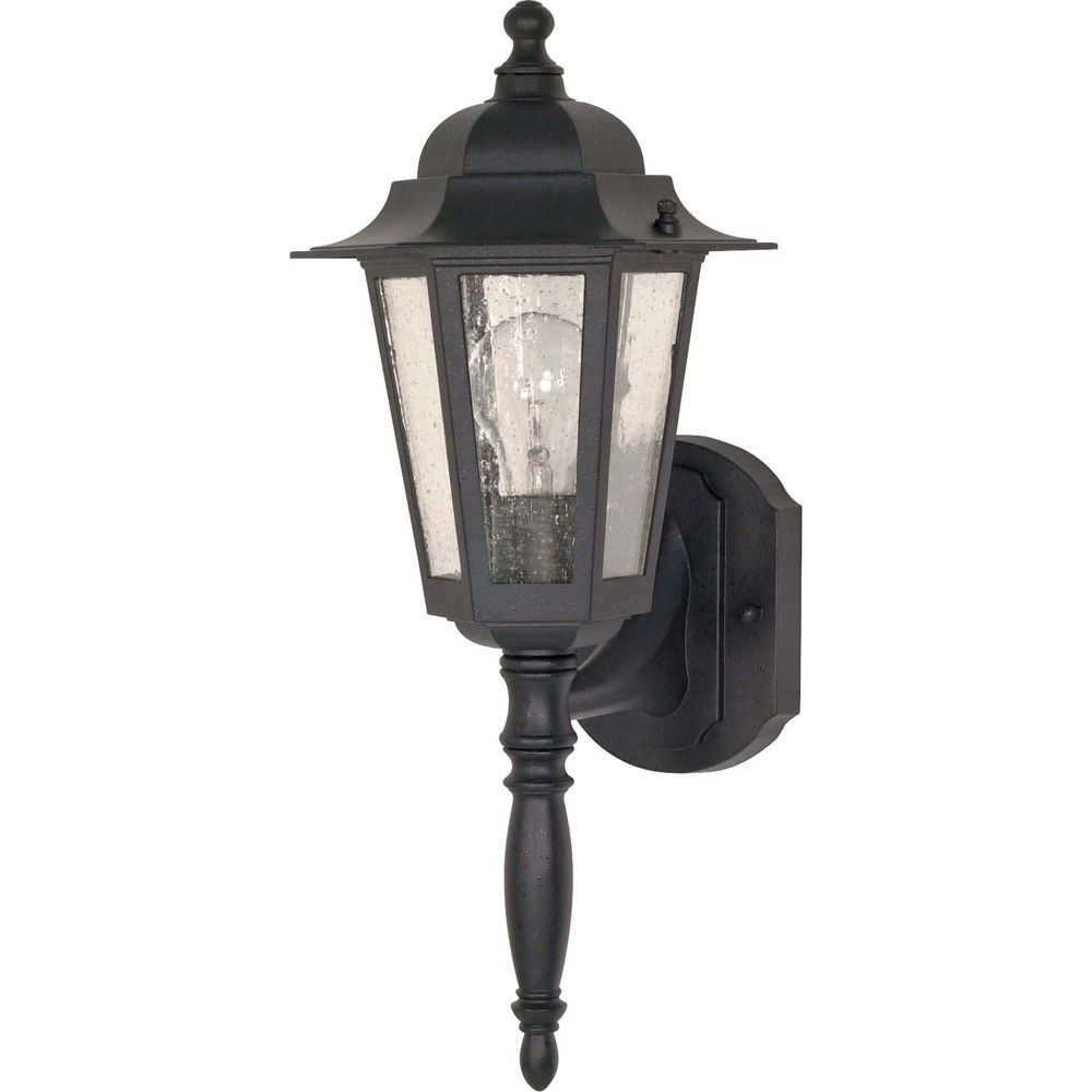 Cornerstone - 1-Light - 18 Inch - Wall Lantern - with Clear Seed Glass finished in Textured Black