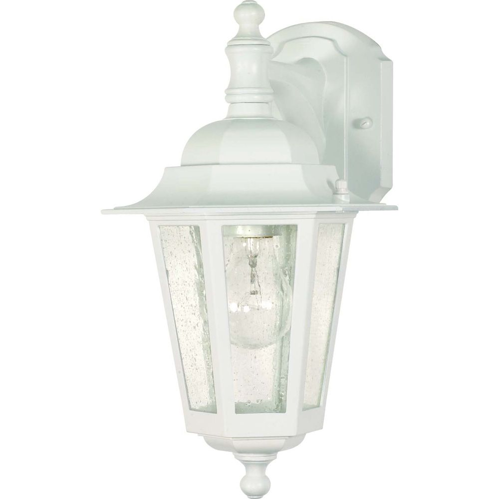 Cornerstone 1-Light 13 Inch Wall Lantern - Arm Down/Clear Seed Glass finished in White