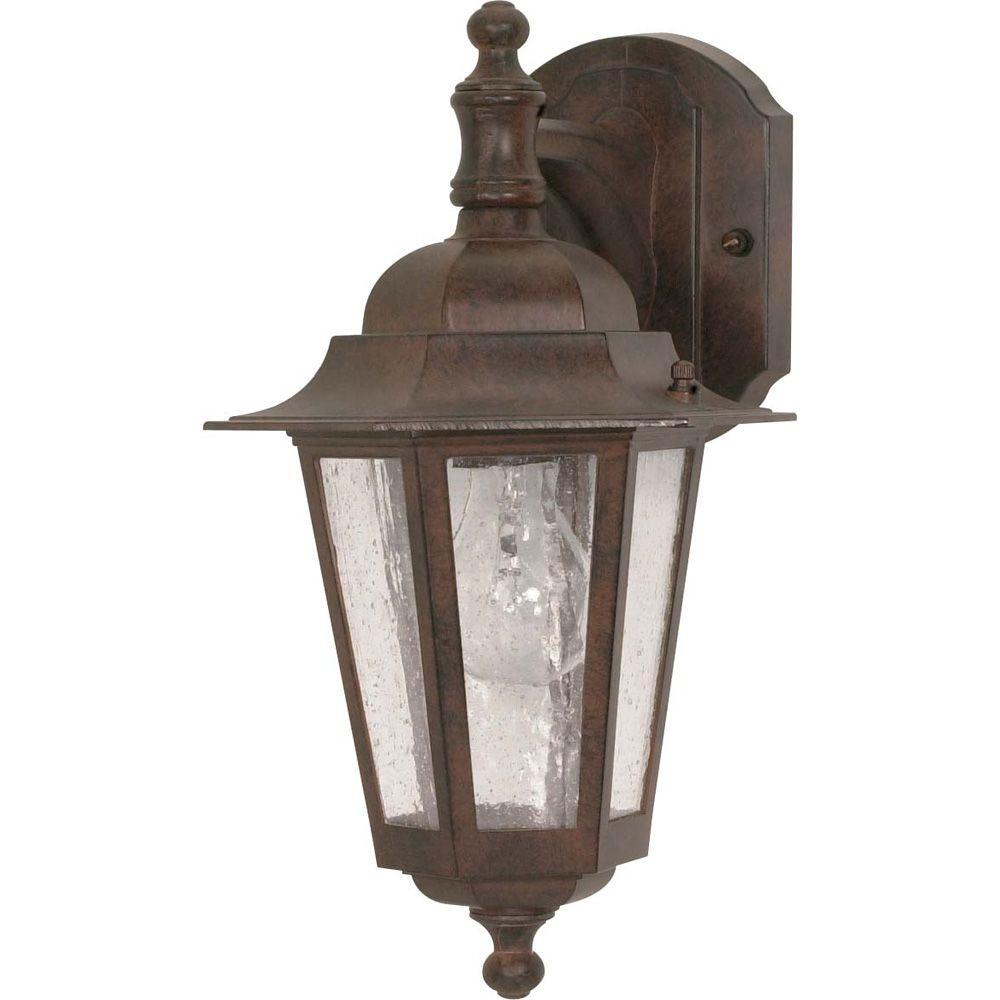 Lumière fixée au mur à une ampoule avec abat-jour clair, Fini bronze