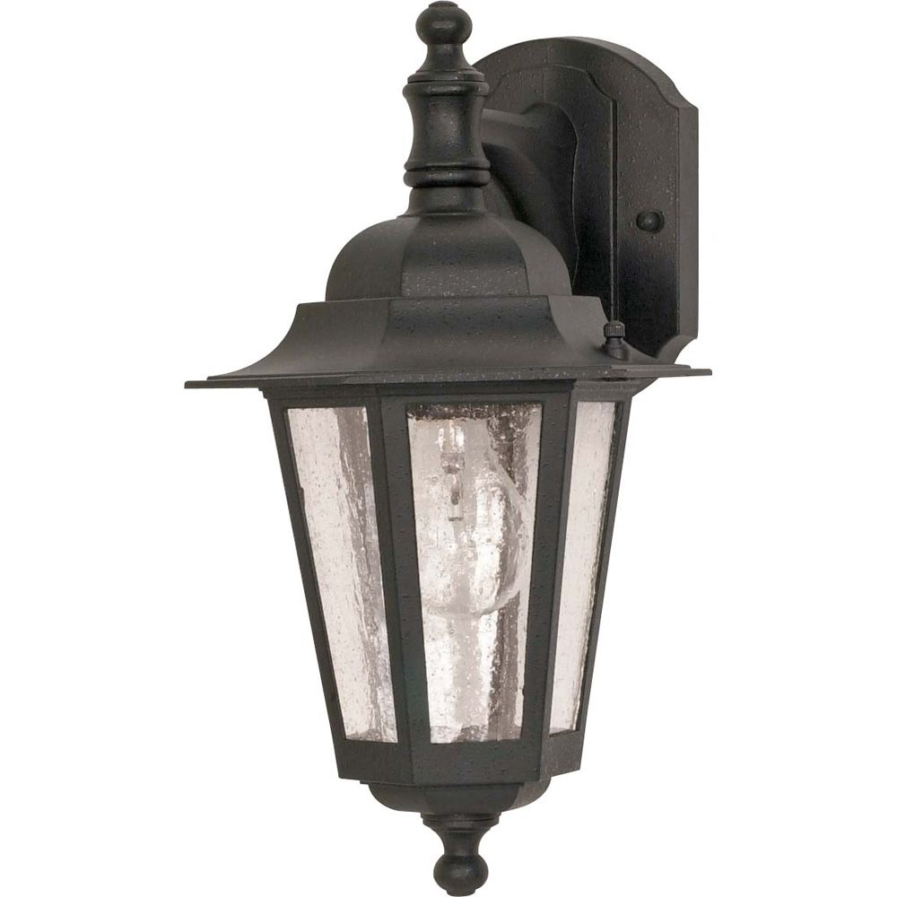 Glomar Cornerstone 1-Light 13 Inch Wall Lantern - Arm Downwith Clear Seed Glass finished in Textured Black