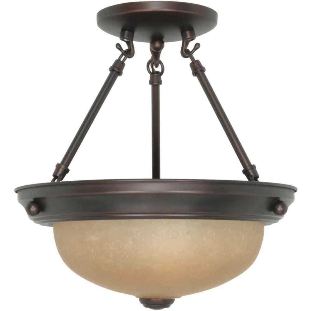 2 Light 11 Inch Semi-Flush with Champagne Linen Washed Glass Finished in Mahogany Bronze HD-1258 Canada Discount