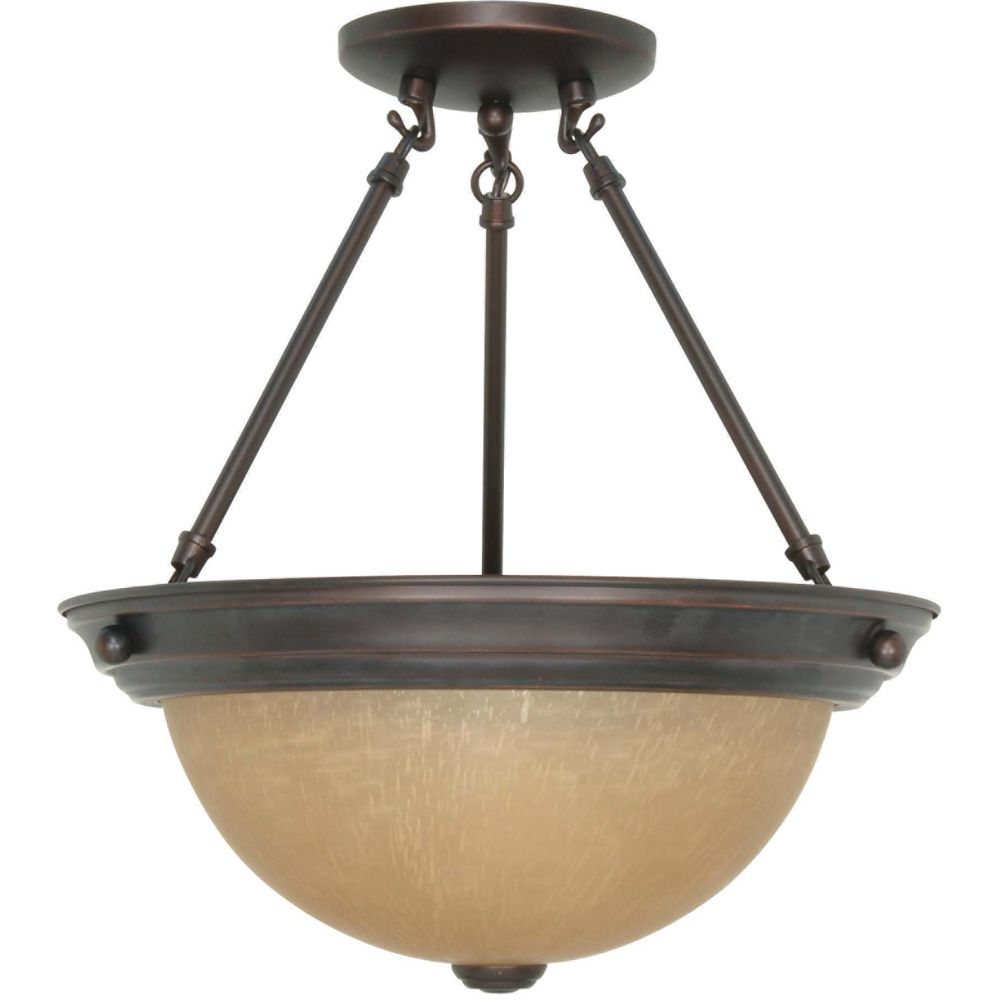 2 Light 13 Inch  Semi-Flush with Champagne Linen Washed Glass Finished in Mahogany Bronze