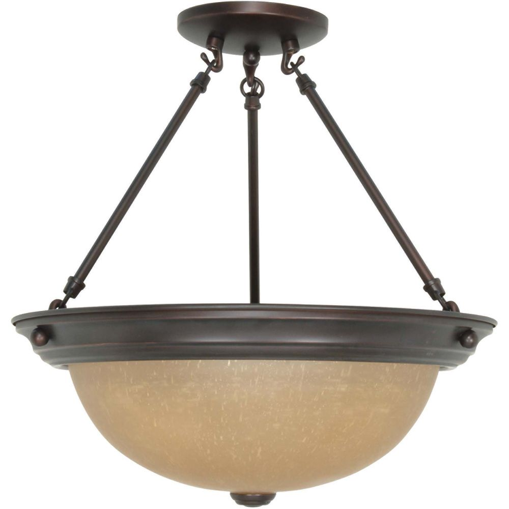 3 Light 15 Inch  Semi-Flush with Champagne Linen Washed Glass Finished in Mahogany Bronze