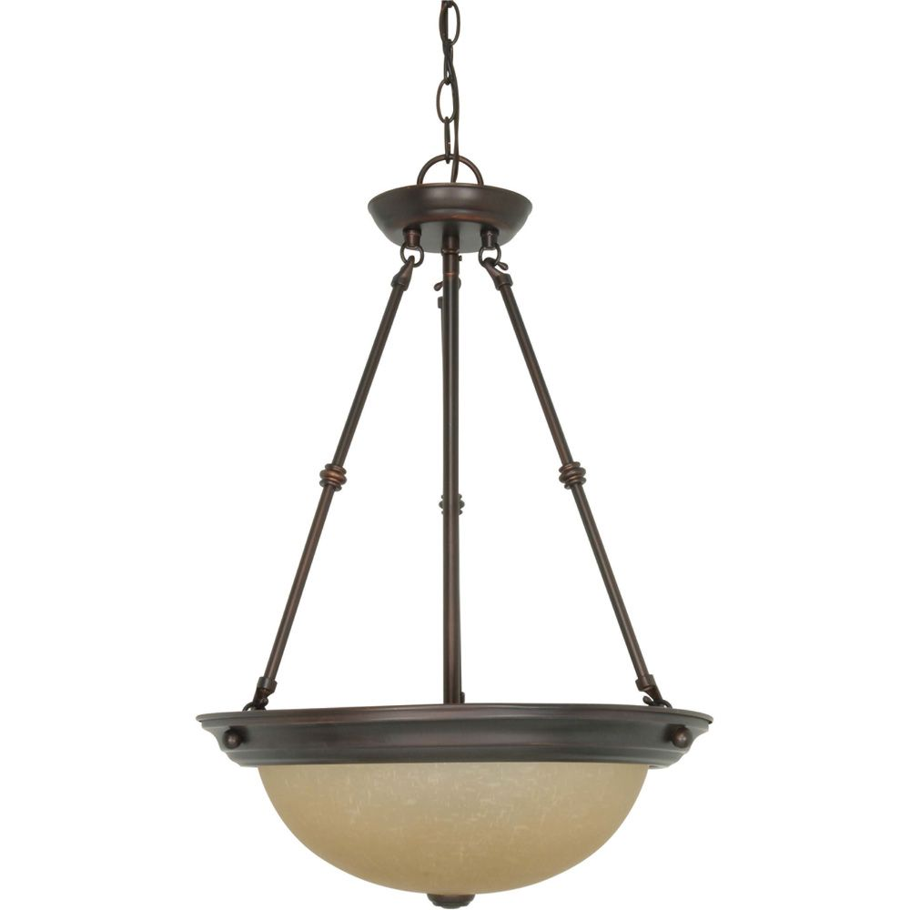 3 Light 15 Inch  Pendant with Champagne Linen Washed Glass Finished in Mahogany Bronze