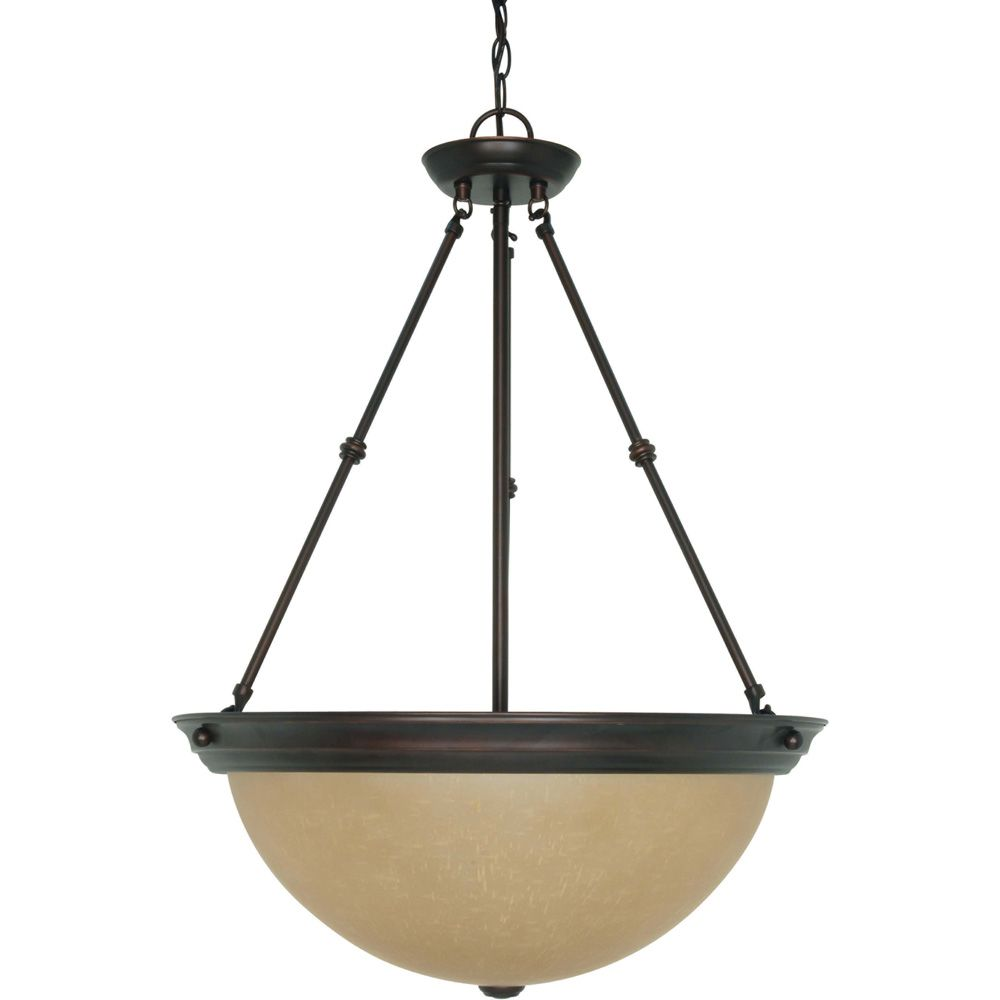 3 Light 20 Inch Pendant with Champagne Linen Washed Glass Finished in Mahogany Bronze