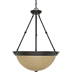 Glomar 3 Light 20 Inch Pendant with Champagne Linen Washed Glass Finished in Mahogany Bronze