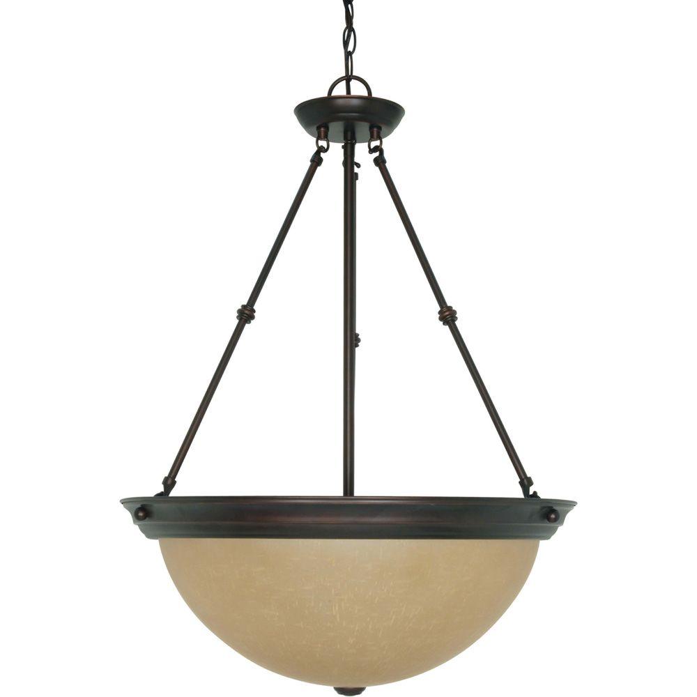 Lustre Glomar à trois ampoules avec abat-jour de spécialité, Fini bronze