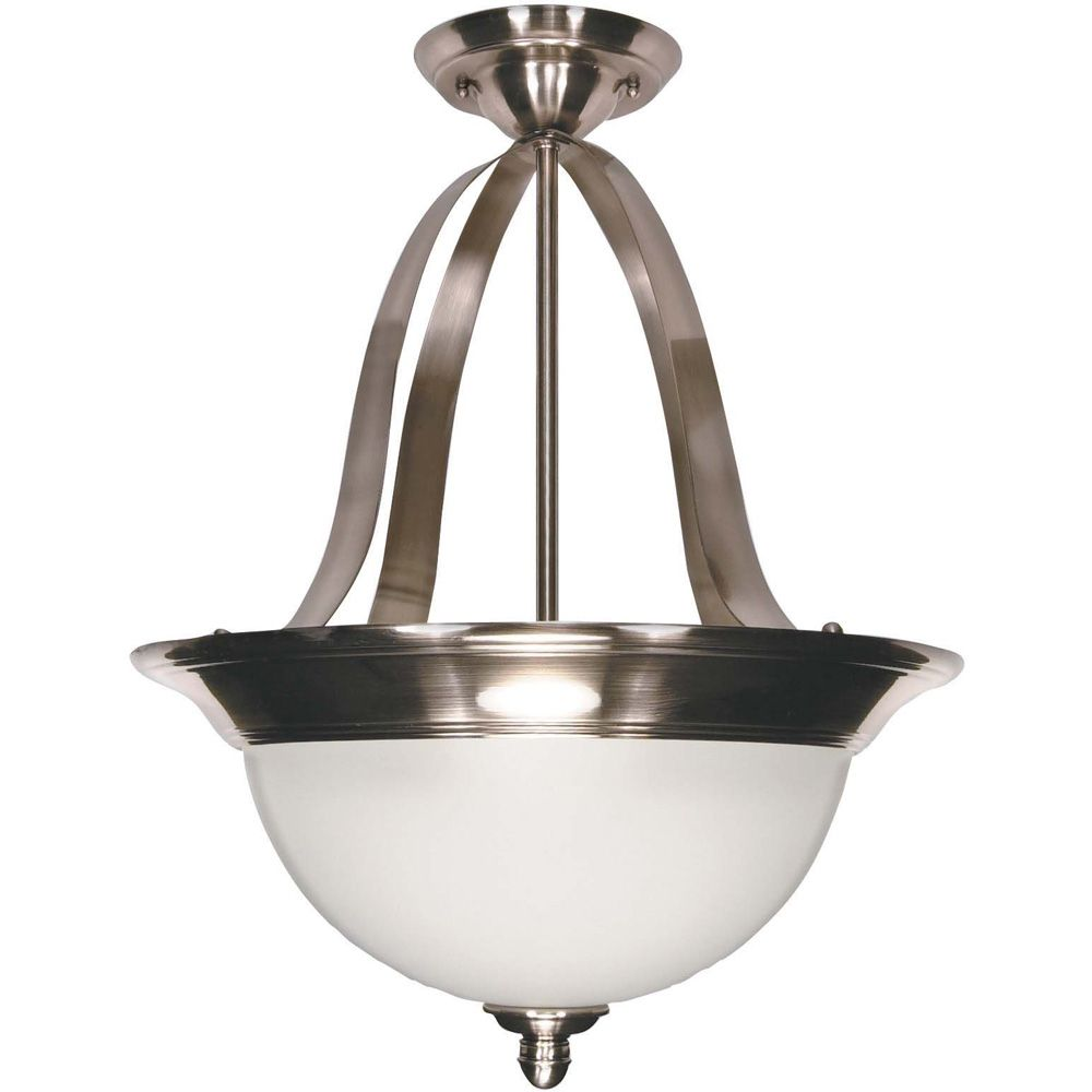 Palladium 3-Light 16 Inch Pendantwith Satin Frosted Glass Shades Finished in Smoked Nickel