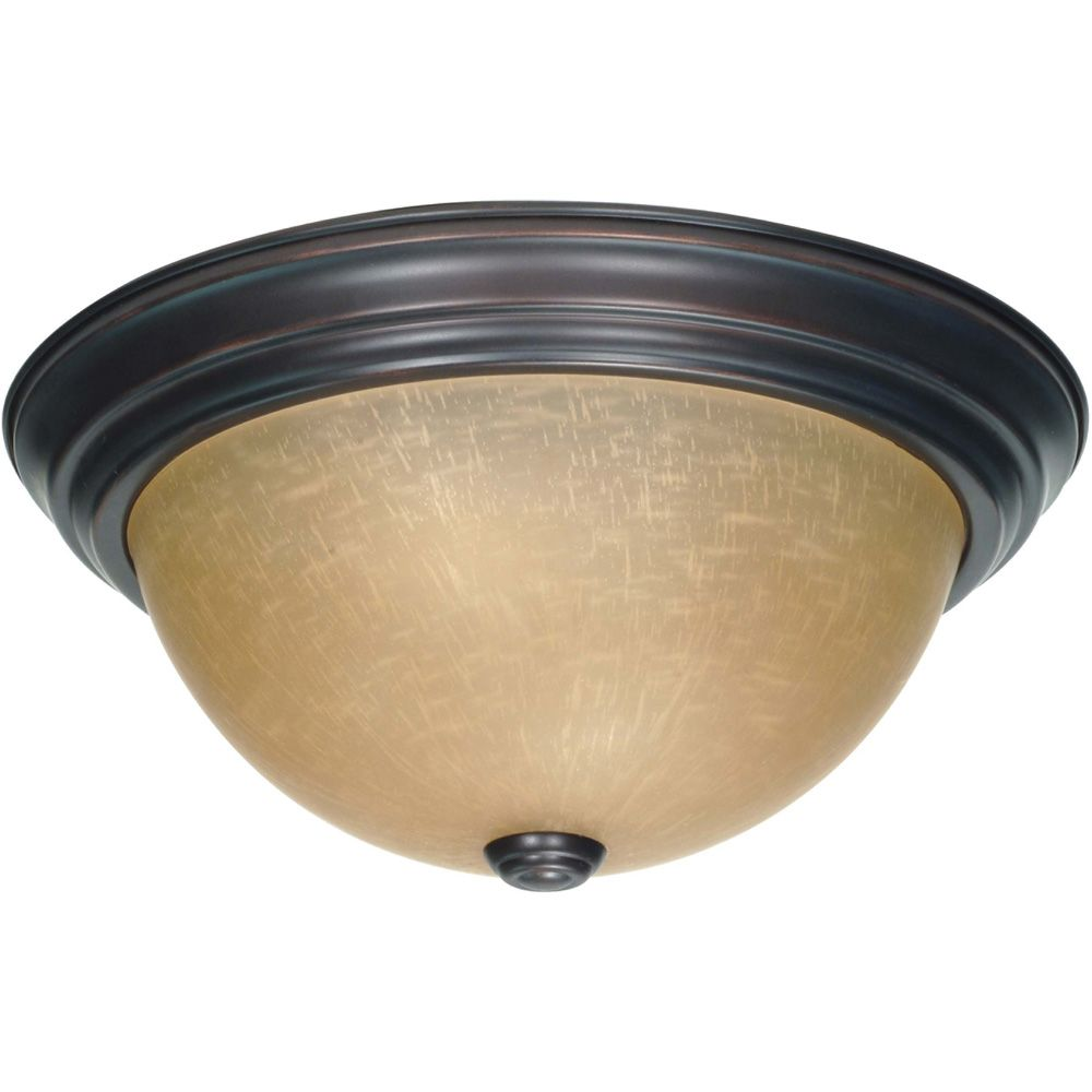 Glomar 2-Light Mahogany Bronze Flushmount with Champagne Linen Washed Glass Shade