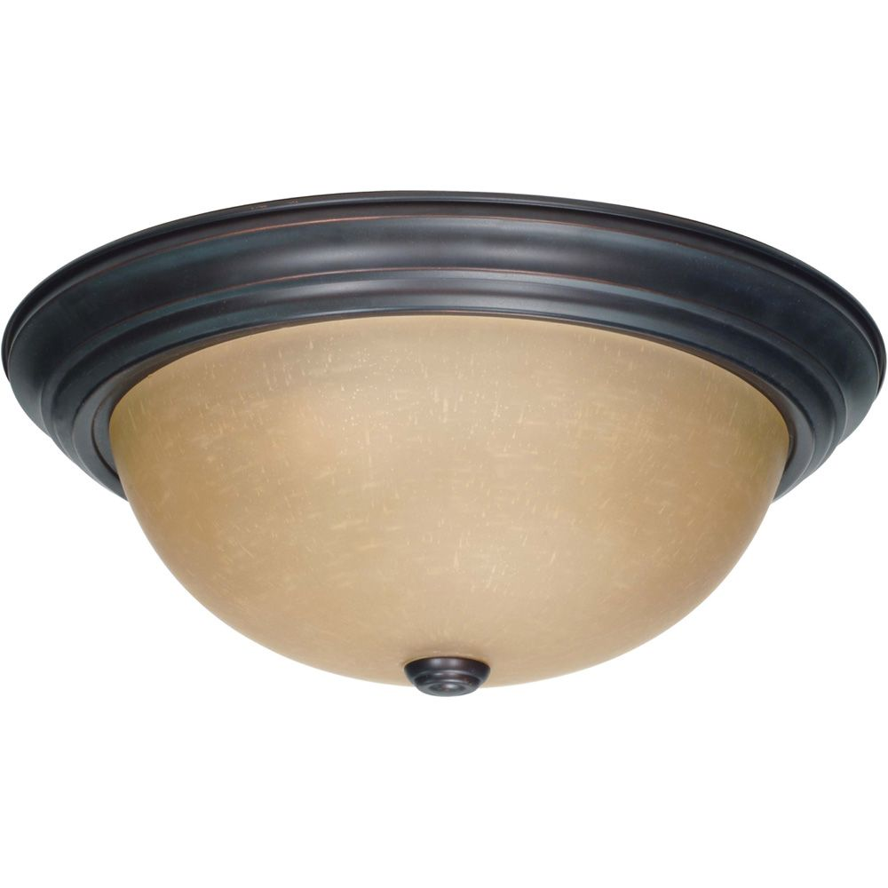 3 Light 15 Inch Flush Mount with Champagne Linen Washed Glass Finished in Mahogany Bronze HD-1257 Canada Discount